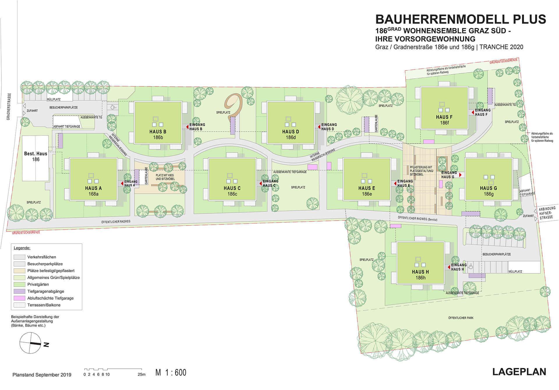 Neubauherrenmodell - 186 Grad Wohnensemble Graz Süd - Lageplant Haus A-H